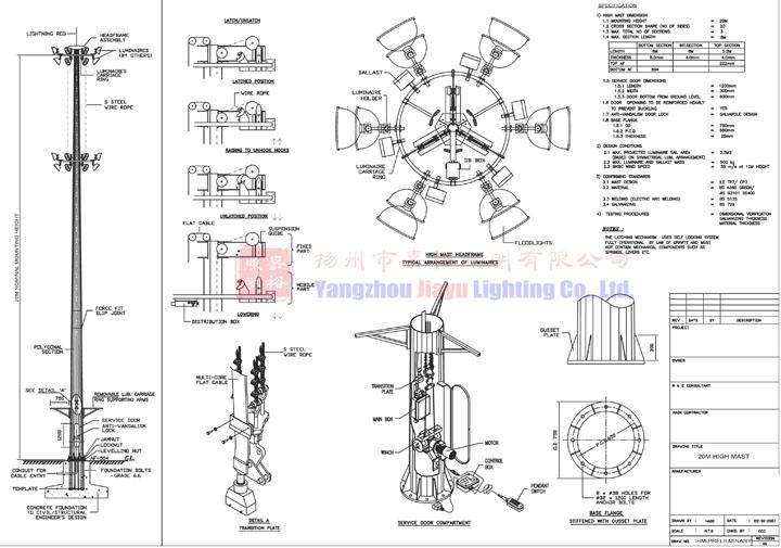 Auto Lift System 16 Nos Hps 30m High Mast Lighting Pole