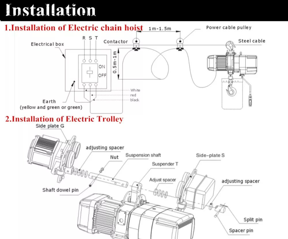 medium resolution of elk 5 ton electric chain hoist with electric trolley kito crane hoist