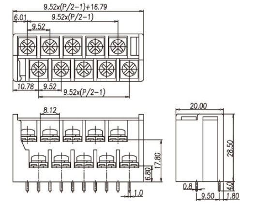 3kds Double Row Barrier Terminal Block 300v 10a 9.5mm