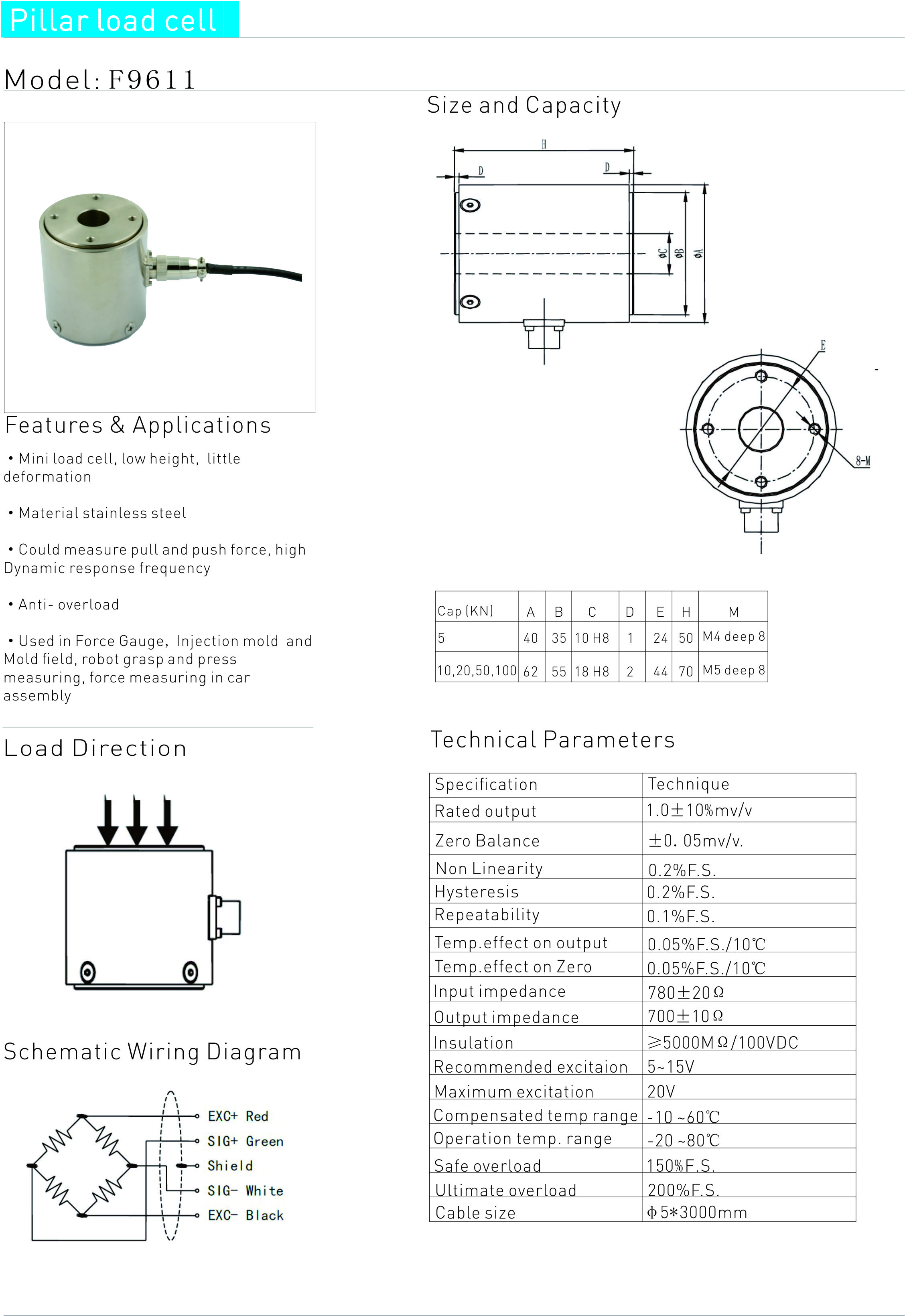 5kn 20kn 50kn 100kn Column Load Cell Tension Compression