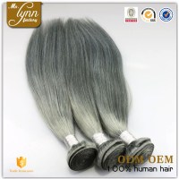 Natural Straight Indian Remy Gray Colored Hair Weaving ...