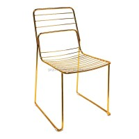 Commercial Home Gold Leaf Shape Metal Wire Dining Chair ...