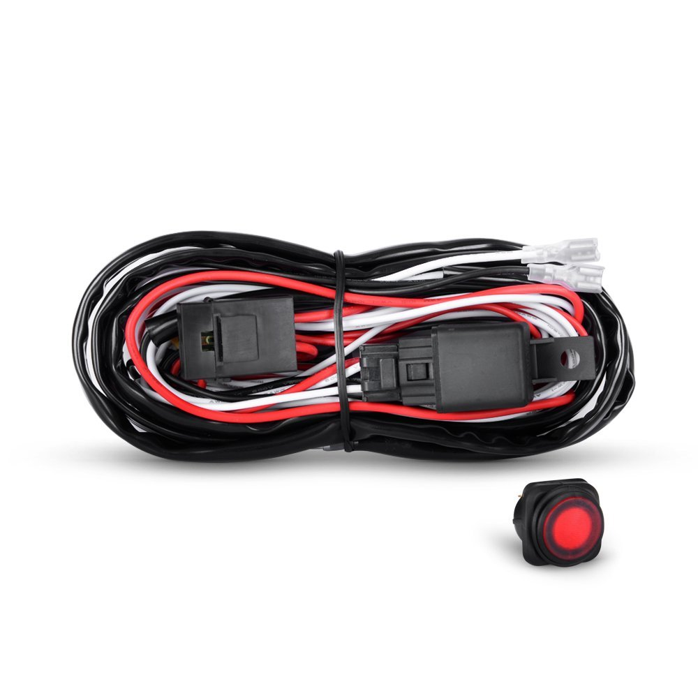 hight resolution of get quotations nilight off road led light bar wiring harness kit 12v relay on off rocker switch
