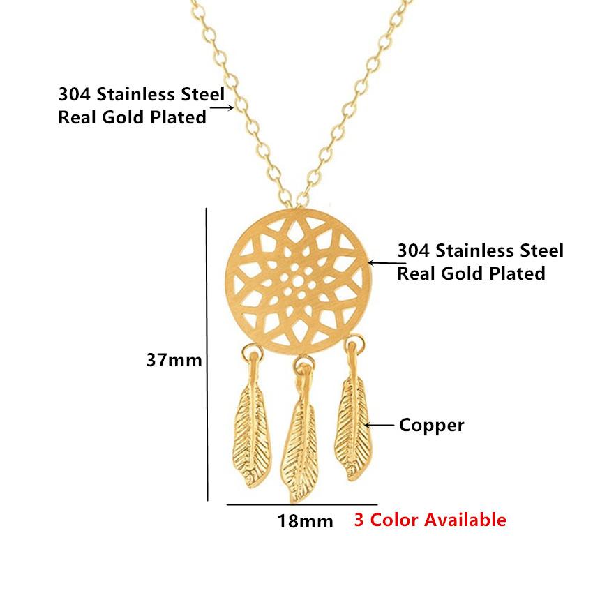 9297918eb634 Vintage Dreamcatcher encanto collares colgantes para mujeres delicada  joyería Cadena de acero inoxidable gargantilla collares mujer bijoux BFF