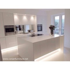 Kitchen Island Top Narrow Sink Acrylic Solid Surface White Marble Countertop
