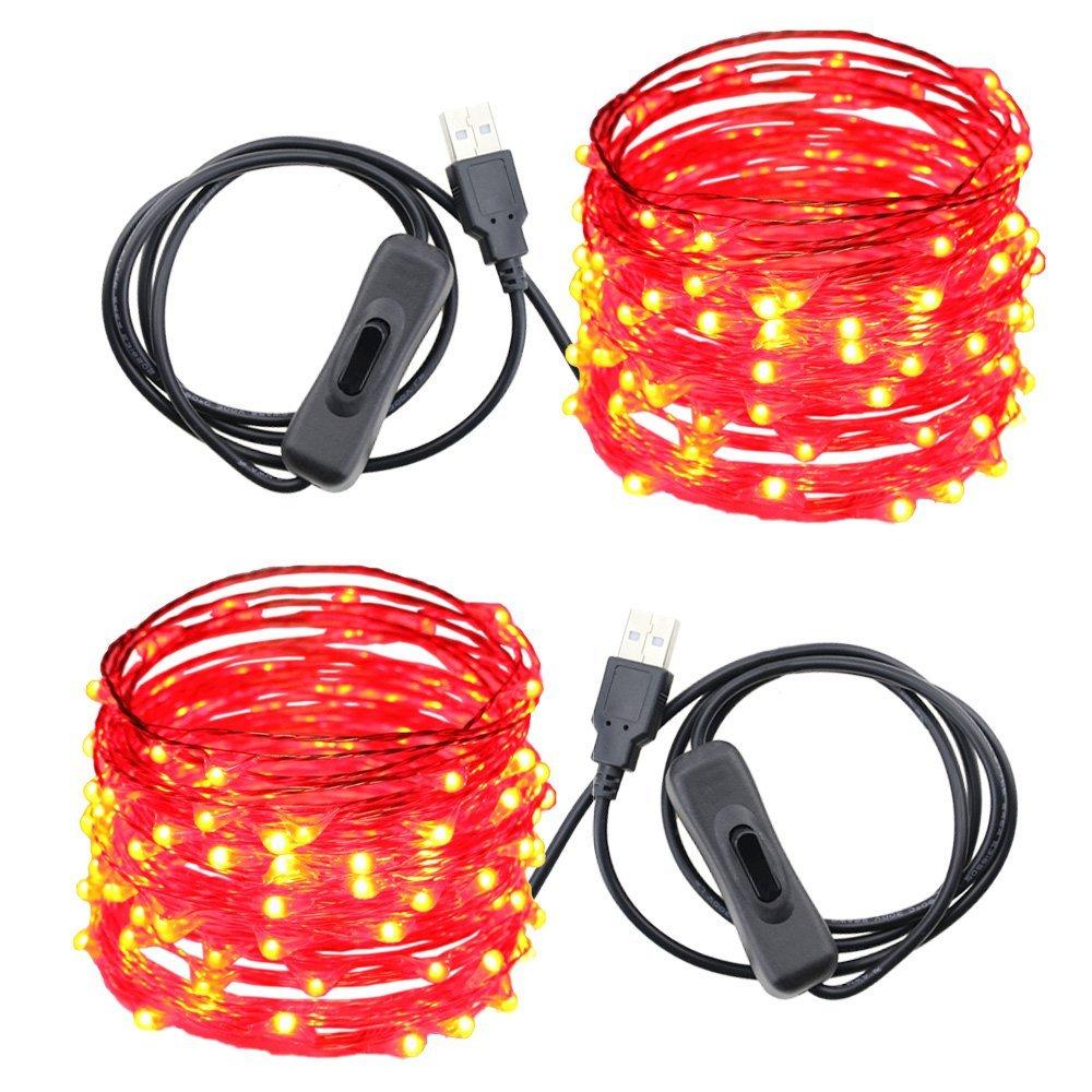 hight resolution of usb led string lights er chen tm 100 leds 33ft waterproof copper wire