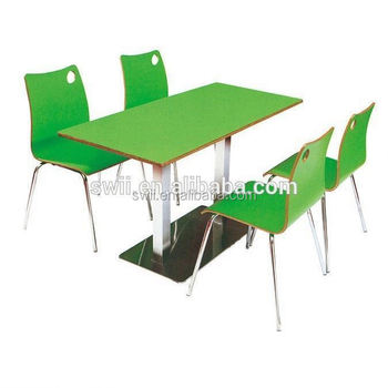 wooden restaurant chairs colourful office uk small peacock wood 6 seater rectangle stainless steel dining table and chair sets