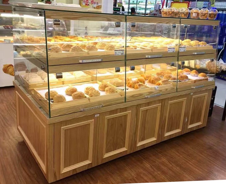China Supplier Custom Wooden Cabinet Glass Bread Display