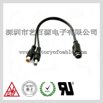 Rca Female+2.1*5.5 Dc Male Plug Swap To 4pin Mini Din