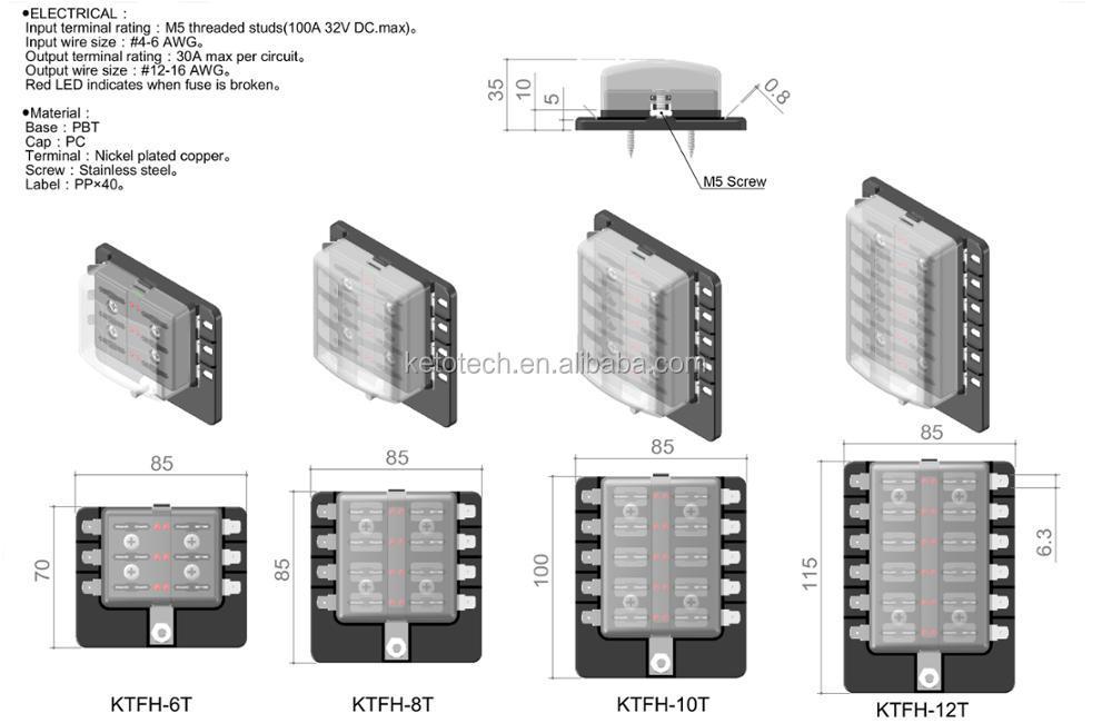 Universal 10 Way Blade Circuit Auto Car Modification 12v