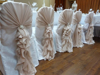 chair covers and sashes posture rocking fancy organza curly willow cover sash ruffled wedding hood