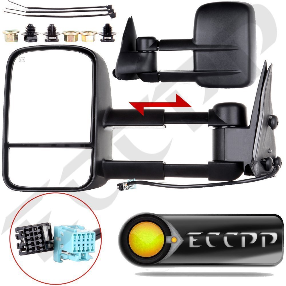 hight resolution of eccpp towing mirrors for 2003 2006 chevy silverado 1500 2500 hd 3500 suburban 1500 2500 tahoe gmc sierra yukon power heated black manual telescoping side