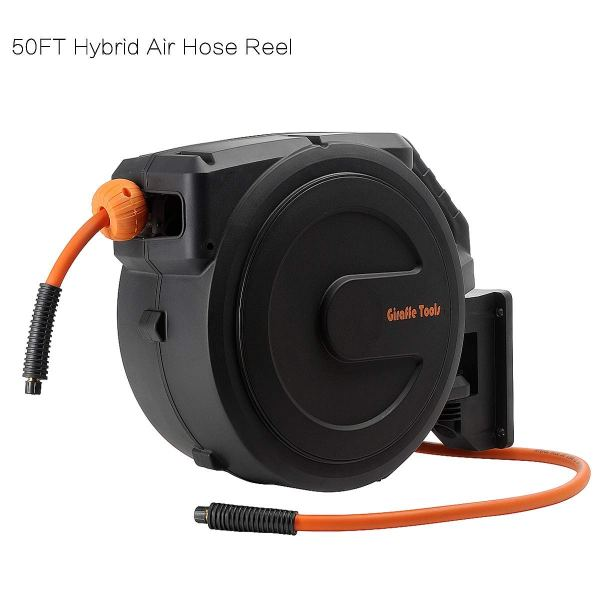 Retractable Air Hose Reel Wall Mounted 49 L Rubber Metal Frame Comfyleads In Cheap