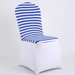 Blue Spandex Chair Covers Office Legs Striped For Banquet Dining Chairs Hotel Wedding