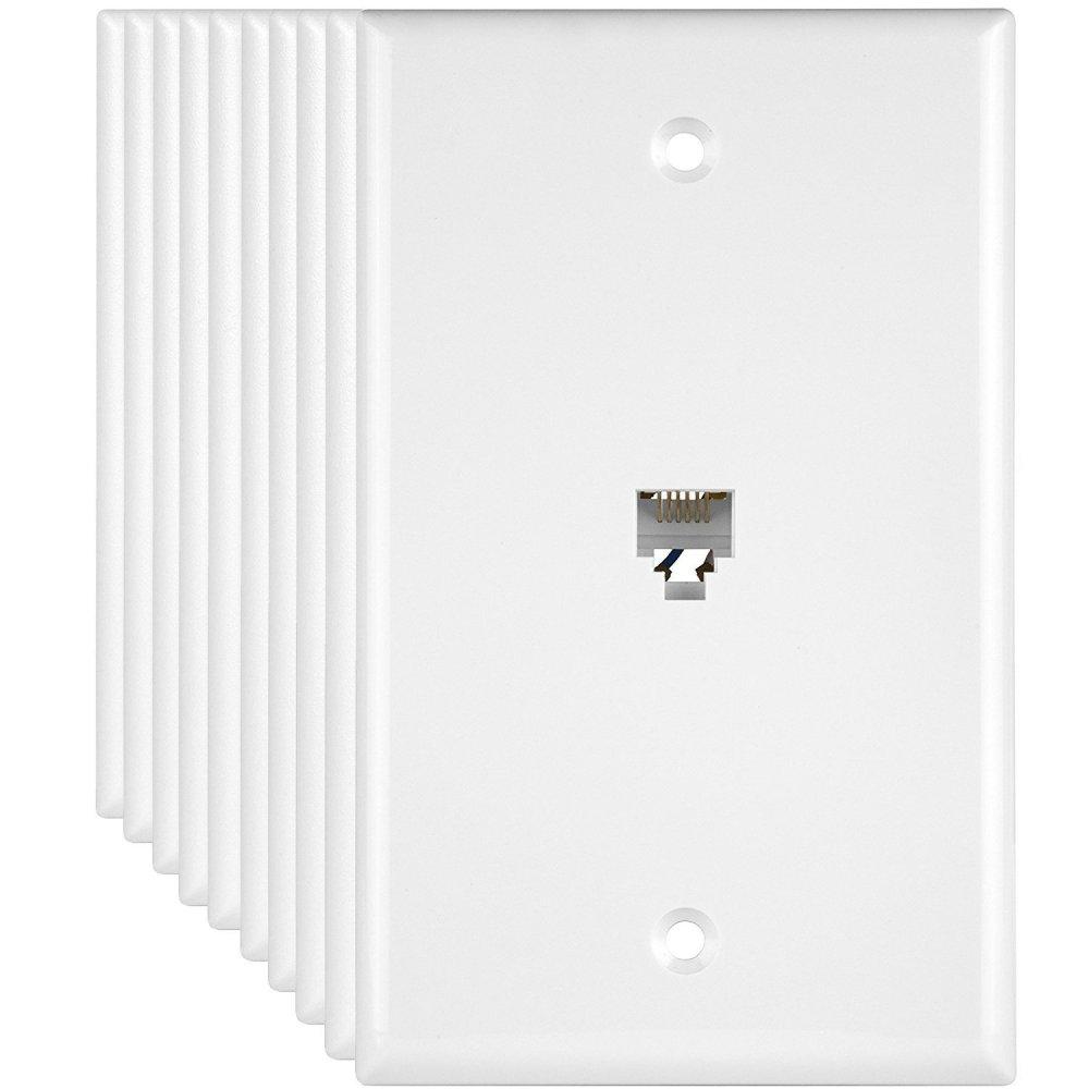 medium resolution of get quotations enerlites 6631 w 10 pack phone jack wall plate rj11 telephone jack adapter wall
