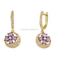 925 Sterling Silver Clip Earrings With Amethyst Stones And ...