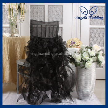 cheap black chair covers for sale recliner chairs on wheels ch007b wholesale universal fancy hot frilly curly willow ruffled buy cover pattern