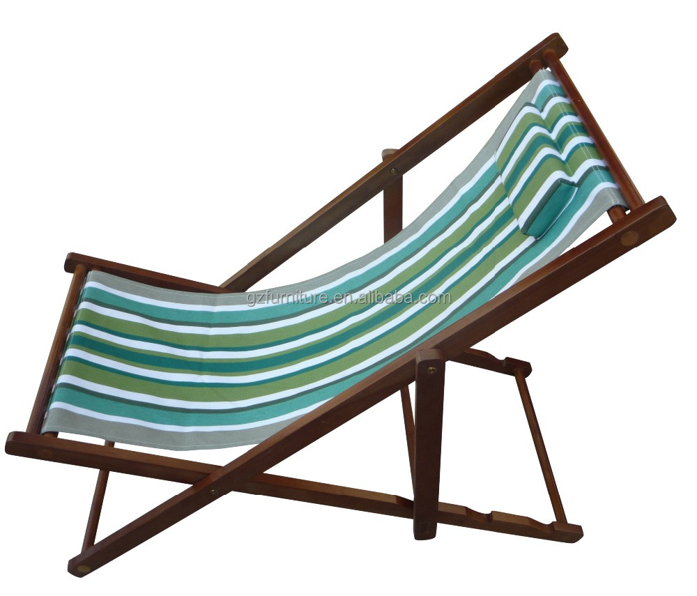 Folding Wood Beach Chair Adjustable Wooden Folding Beach Chair In Beach With Pillow Beach Chair Deck Chair Buy High Quality Folding Wooden Beach Chair Personalized Beach