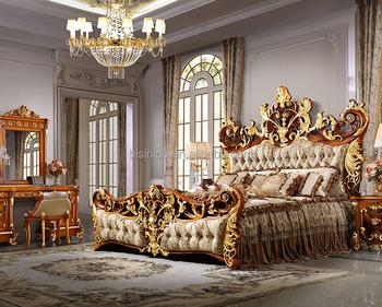 Bisini Luxury Palace King Size Bed Royal Golden King Size