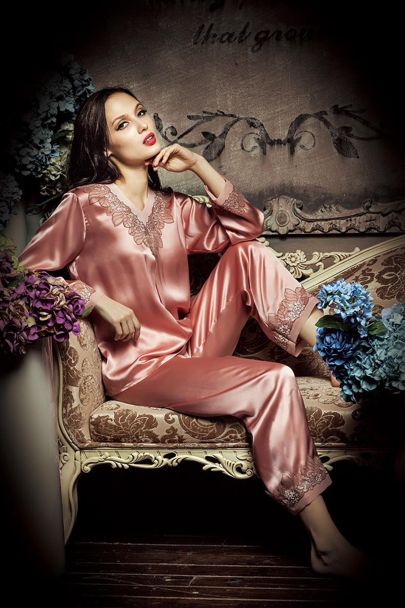 Ladies Silk Sleepwear Silk Nightwear Silk Pajamas Suit  Buy Ladies Silk Pants SuitPink Girls