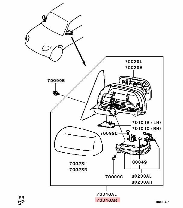 Flexible Auto Pliant Côté Miroir Pour Mitsubishi Pajero