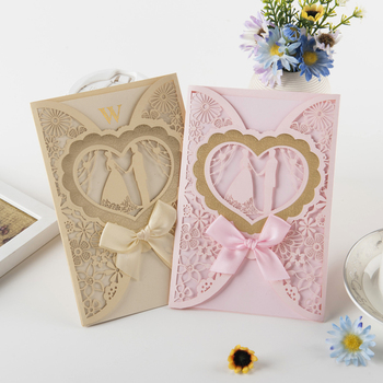 Customised Purple Sweet Romantic Wedding Party Invitation Cards Lovely Heart Shaped Greeting Kit 50pc Lot Express Free Shipping
