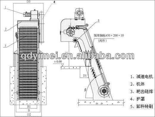 Waste Water Pump Station Intake Rake Type Coarse Bar
