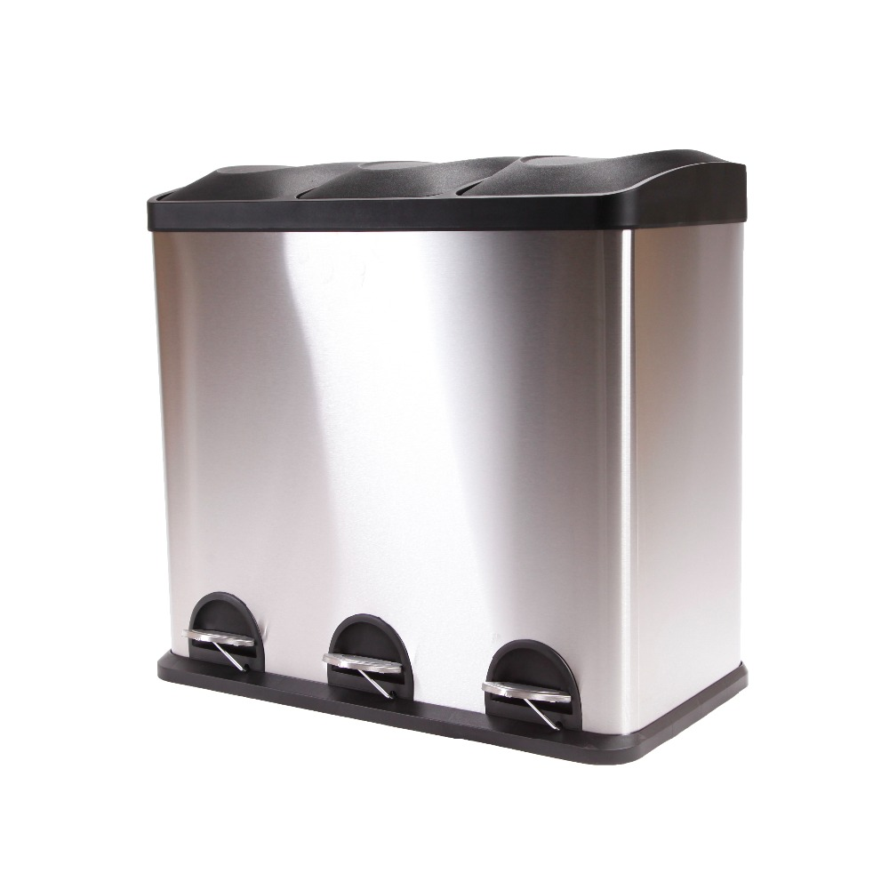 small recycling bins for kitchen modern faucets stainless steel 54l unique design triple recycle bin with competitive price