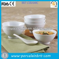 White Blank Good Ceramic Chinese Soup Bowl And Spoon Set