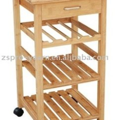 Kitchen Trolley Cart Pella Windows Rubber Wood Serving With 4 Tier 1 Drawer Caster For Cooking
