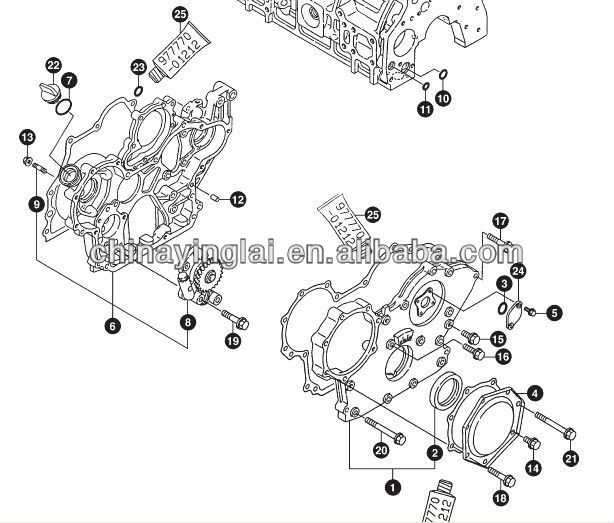 729900-01570 timing cover assembly 4TNE98 engine, View