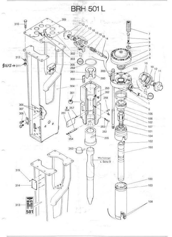 Cilindru ciocan hidraulic Montabert BRH 501-Pièces de