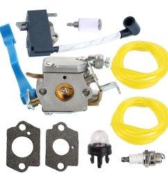 get quotations carburetor with gasket ignition coil spark plug fuel line primer bulb fuel filter for husqvarna 125b [ 1000 x 1000 Pixel ]