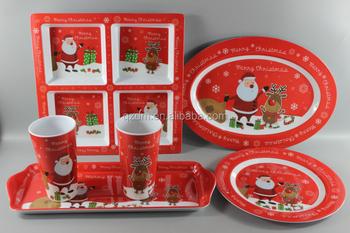 Melamine Christmas Dinnerware Plastic Xmas Tableware