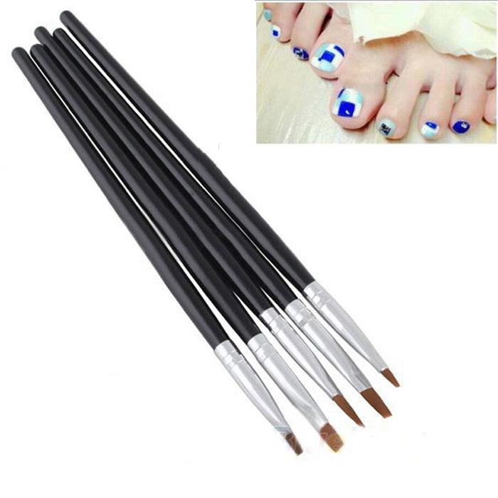 Get Ations 1set 5pcs Trendy 2 Ways Acrylic Uv Gel Nail Painting Drawing Polish Art Brush