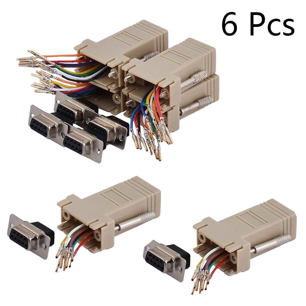 hight resolution of get quotations yohii db9 female 9 pins to rj45 8 wire modular adapter connector extender convertor