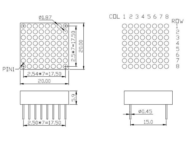 Xh-788 Xh-7088 Newshine 8*8 Smd Led Dot Matrix Module With
