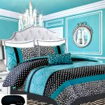 Buy Teen Girls Black Teal Bedding Comforter Damask Leopard Full Queen Bedspread White Aqua Blue Set Shams Adorable Throw Pillow Home Style Sleep Mask Polka Dot Comforters Sets For