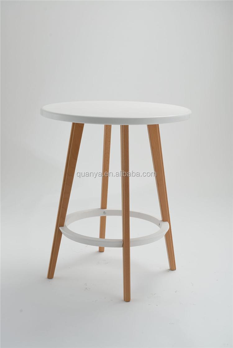 70cm High Wooden Leg Bar Table Pp Plastic Top Bar Table