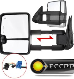 eccpp towing mirror by pair chrome side mirror replacement for 2003 06 chevy silverado suburban [ 1000 x 1000 Pixel ]