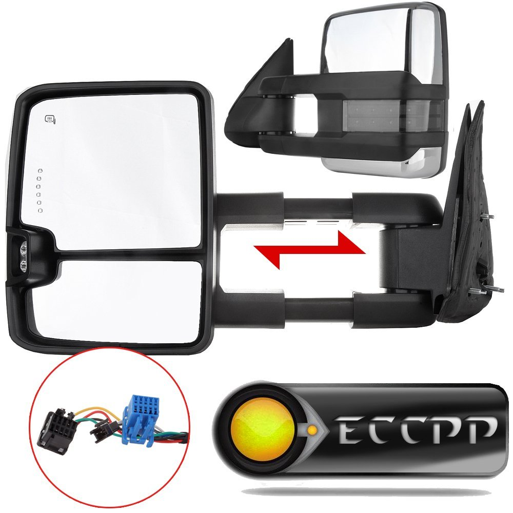 hight resolution of eccpp towing mirror by pair chrome side mirror replacement for 2003 06 chevy silverado suburban