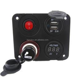 12v autos dual usb socket voltmeter on off button switch 4 hole panel led switch buy dual port usb 12v dc power outlet socket digital voltmeter product on  [ 1000 x 1000 Pixel ]