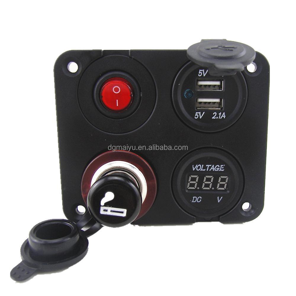 medium resolution of 12v autos dual usb socket voltmeter on off button switch 4 hole panel led switch buy dual port usb 12v dc power outlet socket digital voltmeter product on