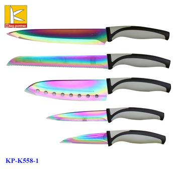 titanium kitchen knives cast iron sinks for sale 5 pcs color box coating knife set buy itchen