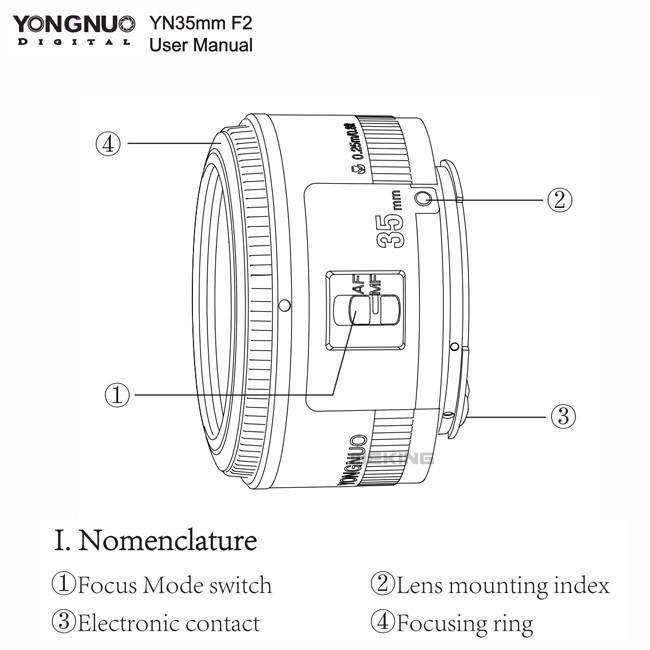 Yongnuo Yn35mm F2 Wide-angle Camera Lens Large Aperture