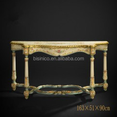 Painted Queen Anne Sofa Table Sectionals Under 500 Style Solid Wood Carved Console Floral Painting Side Cabinet Living Room Furniture