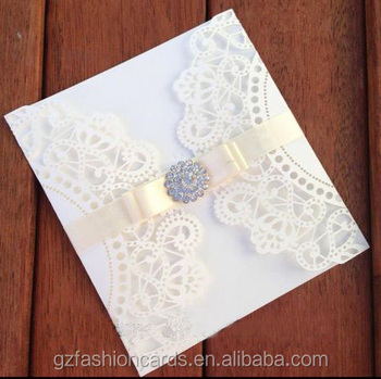 Gate Fold Laser Cut Wedding Invitation With Ribbon And Buckle Invitations Decorating Fancy