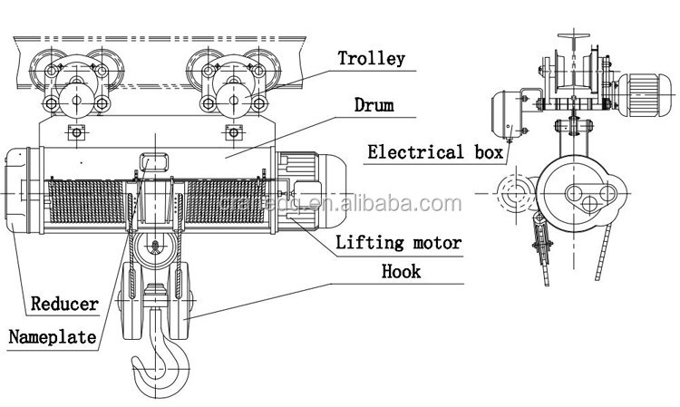 Cd/md 5 Ton Monorail Workshop Electric Hoist With Trolley