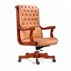 Wood And Leather Executive Office Chairs High Chair Cover Replacement Walmart End Retro Ceo Chesterfield With Wooden Base