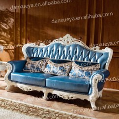 Sofa Blue Color How To Make Bed More Comfortable Danxueya French Provincial Leather Italian Louis Genuine